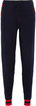 Chinti and Parker Cherry Intarsia Cashmere Track Pants - Navy