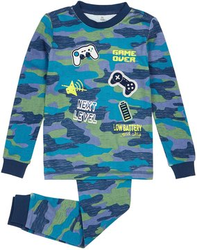 Petit Lem Camouflage Two-Piece Pajama Set, Blue, Size 2-6X