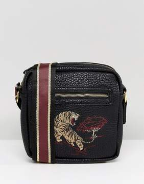 Asos Flight Bag In Faux Leather With Embroidery