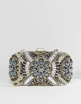 Aldo Black & Metallic Beaded Box Clutch Bag