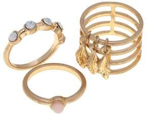 Danielle Nicole Roselia Leaf Dangle 3-piece Stack Ring Set