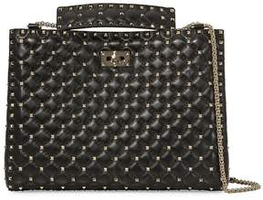Valentino Rockstud Quilted Leather Shoulder Bag- Black