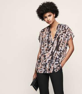 Reiss Feather Printed Short-Sleeved Top