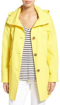 Ellen Tracy A-Line Detachable Hood Sailcloth Coat