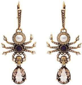 Alexander McQueen Crystal and pearl spider-drop earrings