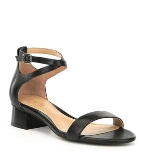 Lauren Ralph Lauren Betha Leather Ankle Strap Block Heel Dress Sandals
