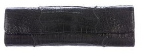 Carlos Falchi Black Crocodile Clutch