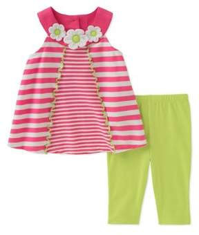Kids Headquarters Baby Girl's Two-Piece Striped Tunic and Capri Pants Set
