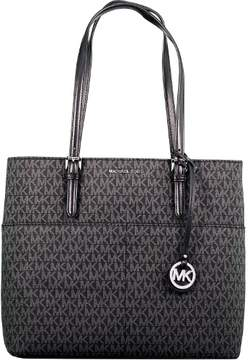 Michael Kors Women's Large Bedford Pocket Leather Shoulder Bag Tote - Black - BLACK - STYLE