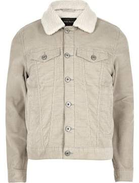 River Island Mens Stone fleece lined corduroy jacket