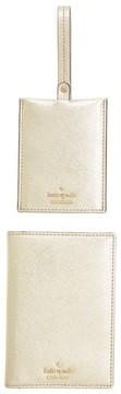 Kate Spade Leather Passport Case & Luggage Tag Set - Green