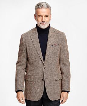 Brooks Brothers Madison Fit Harris Tweed Brown Herringbone Sport Coat