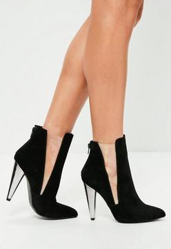 Missguided Black Metal Cone Heel Ankle Boots