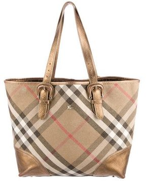 Burberry Shimmer Check Tote - METALLIC - STYLE