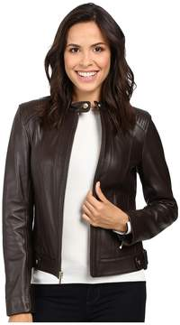 Cole Haan Leather Racer Jacket with Quilted Panels Women's Jacket