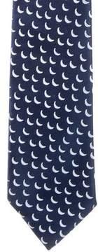Charvet Silk Crescent Moon Print Tie