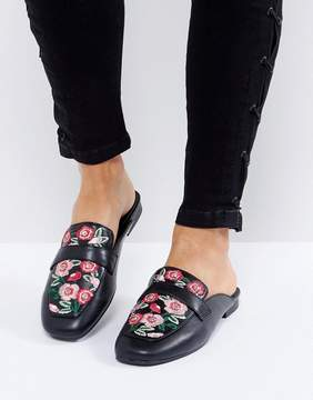 New Look Floral Embroidered Loafer Mule