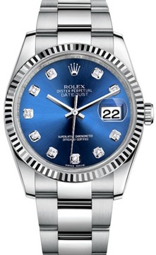 Rolex Datejust Stainless Steel Fluted Bezel & Blue Diamond Dial on Oyster Bracelet Watch