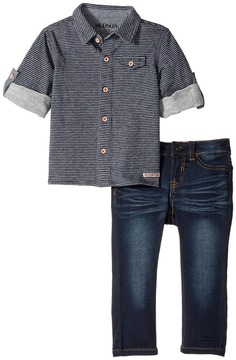 Hudson Two-Piece Striped French Terry Shirt Indigo Knit Denim Pants Boy's Active Sets
