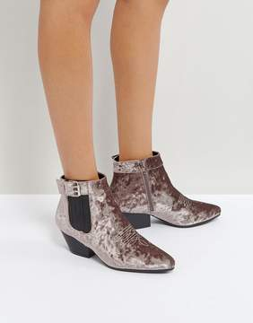 Qupid Low Heel Velvet Western Boot