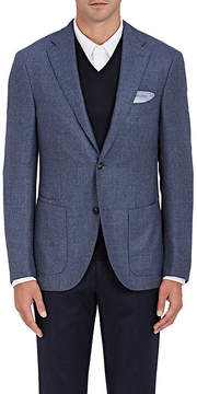 Luciano Barbera Men's Basket-Weave Silk-Wool Two-Button Sportcoat