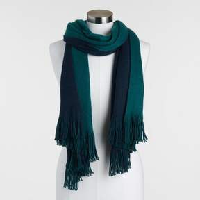 World Market Navy and Teal Reversible Knit Scarf