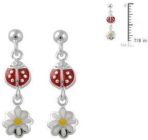 Ice Silver Ladybug & Daisy Flower Girls' Dangling Earrings
