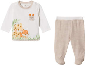 Mayoral White And Brown Jungle Animal Top and Footed Leggings Set