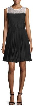 Erin Fetherston Sleeveless Lace Pleated-Skirt Cocktail Dress