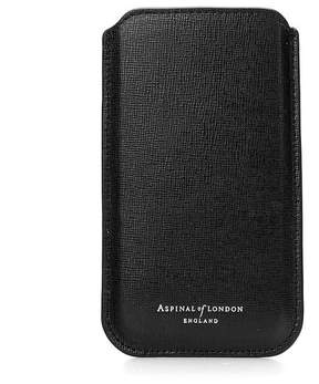 Aspinal of London | Iphone 6 / 7 Leather Sleeve In Black Saffiano Black Suede | Black saffiano black suede