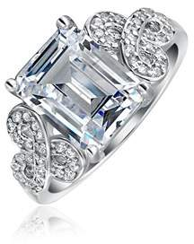 Celtic Bling Jewelry .925 Silver Emerald Cut Cz Knot 3ct Engagement Ring.