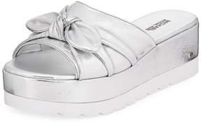 MICHAEL Michael Kors Pippa Metallic Leather Platform Slide Sandal with Bow
