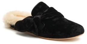 Bill Blass Women's Laverne Genuine Shearling Lined Velvet Slide