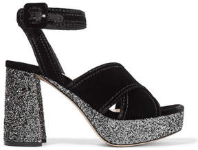 Miu Miu Glittered Velvet Platform Sandals - Black