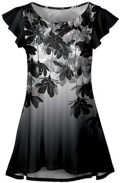 Lily Black & White Floral Flutter-Sleeve Tunic - Women & Plus