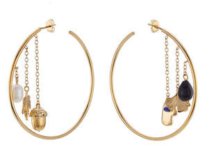 Aurelie Bidermann 18kt Yellow Gold Plated Earrings with Pearl, Agate and Lapis