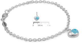 Ice Silver March Birthstone Flower Heart Charm Girls Bracelet (5 1/2 or 6 1/2 In)