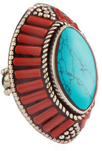 Devon Leigh Coral & Turquoise Marquis Ring
