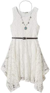 Knitworks Girls 7-16 Belted Handkerchief Hem Lace Skater Dress with Necklace