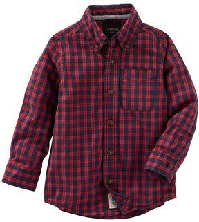 Osh Kosh Boys 4-8 Plaid Button-Down Long Sleeve Shirt