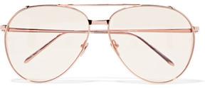 Linda Farrow Aviator-style Rose Gold-plated Sunglasses - Metallic