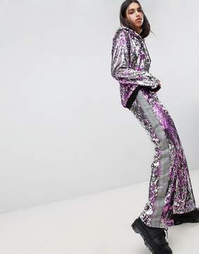 Jaded London Festival All Over Sequin Taped Tracksuit Bottoms