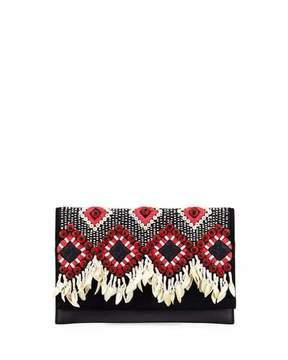 Tory Burch Brooke Embellished Clutch Bag - BLACK - STYLE