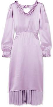 Balenciaga Hybrid Ruffled Silk-satin And Pleated Crepe De Chine Dress - Purple