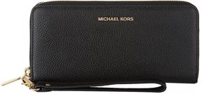 Michael Kors Mercer Leather Continental Travel Wallet - BLACK - STYLE