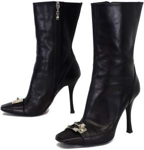 Cesare Paciotti Black Leather Mid Calf Boots