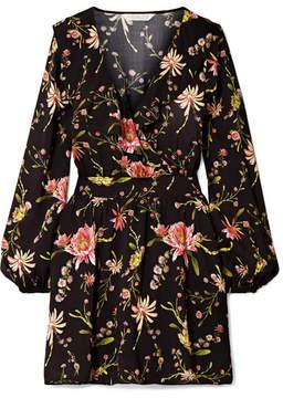 Rachel Zoe Drea Ruffled Floral-print Voile Mini Dress - Black