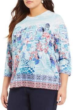 Allison Daley Plus 3/4 Sleeve City Tile Print Knit Top