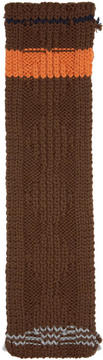 Prada Brown Chunky Cable Knit Zig Zag Scarf