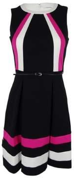 Calvin Klein Women's Sleeveless Belted Dress (2P, Black Combo)